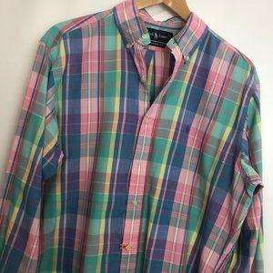 Ralph Lauren classic fit plaid button shirt Sz M